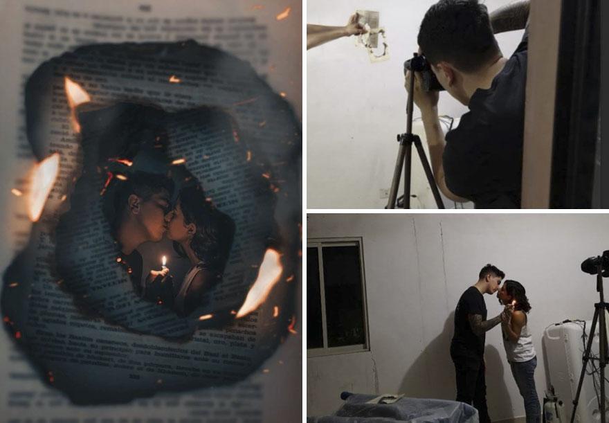 الأوراق والنيران سيناريو فى التصوير الفوتوغرافى