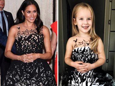 طفلة ترتدى فستانا يحاكى فستان ميجان ماركل