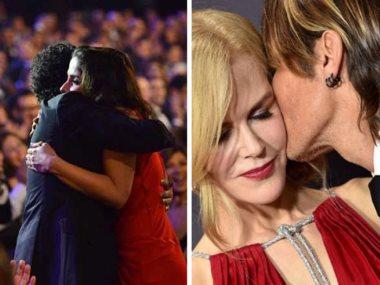 قبلة نيكول كيدمان وزوجها و حضن حلمى ومنى