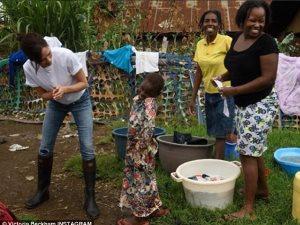 صور.. فيكتوريا بيكهام فى مباراة ملاكمة مع فتيات كينيا
