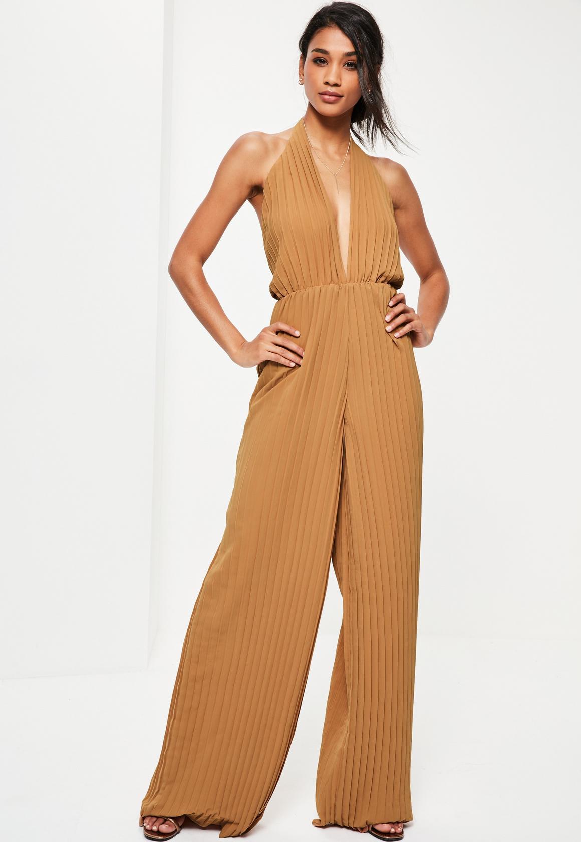 tall-brown-halterneck-pleated-jumpsuit