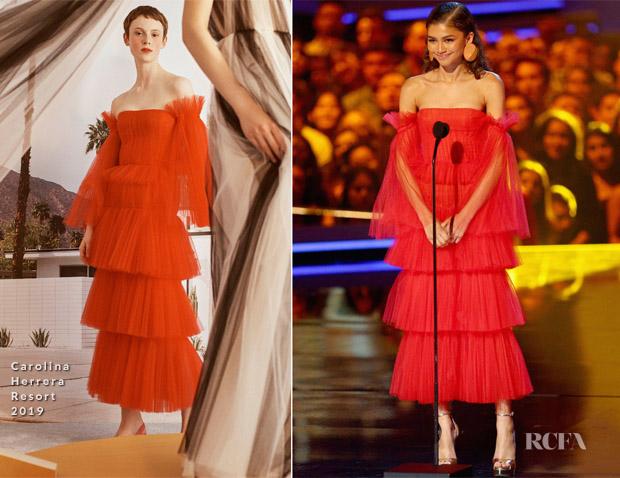زندايا بفستان من Carolina Herrera