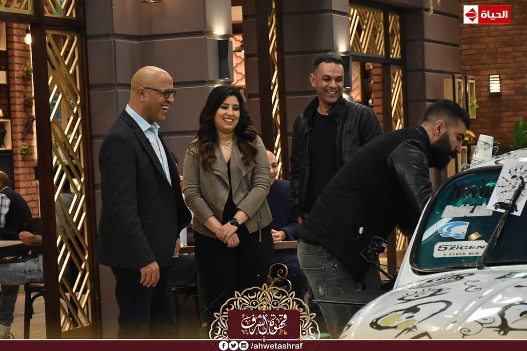 أشرف عبد الباقى و آيتن عامر و زوجها  محمد عز العرب (1)