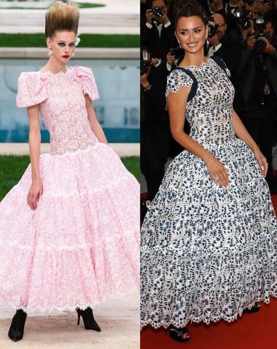 بينلوبي كروز بفستان من chanel  و عارضة الازياء التي قدمت التصميم لأول مرة
