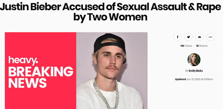 بعد اتهامة بالاعتداء الجنسسي اسم بيبر يتصدر المواقع
