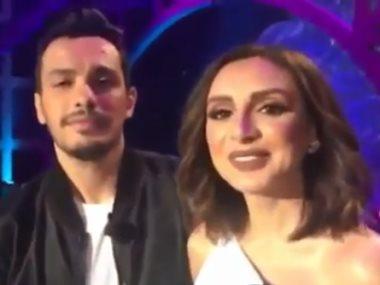 أنغام وزوجها أحمد إبراهيم مع الإعلامى نيشان