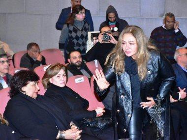 وزيرة الثقافة وليلى علوى وإلهام شاهين فى حفل تأبين المخرج سمير سيف