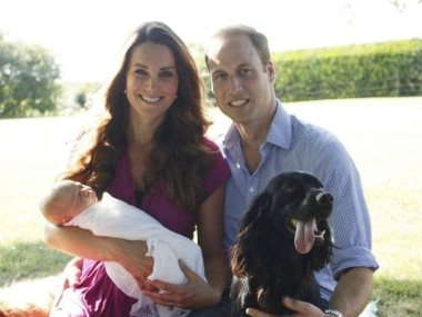 الأمير وليام وكيت ميدلتون وكلبهما لوبو