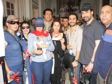 عدد من الفنانين أثناء مشاركتهم فى ثورة 30 يونيو