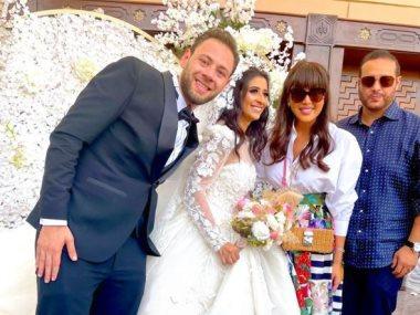 ريهام حجاج ومحمد حلاوة فى حفل زفاف محمد على رزق