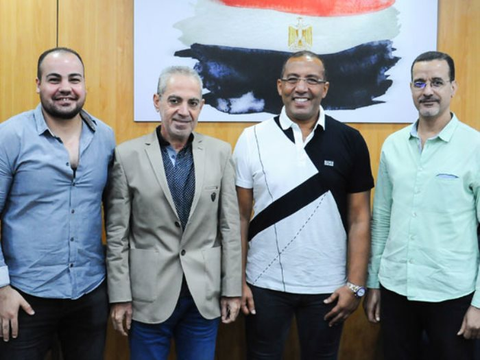 الناقد السينمائى الأمير أباظة والأستاذ خالد صلاح والزميل عمرو صحصاح ومحمد يوسف