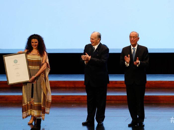 ناي البرغوثي مع رئيس البرتغال والآغاخان