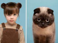 قطة وبنت
